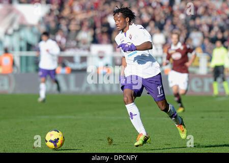 Turin, Italien. 12. Januar 2014. Juan Cuadrado während der Serie A Spiel zwischen Turin und Fiorentina im Stadio - Stockfoto