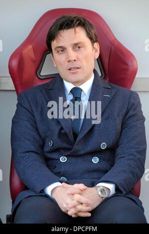 Turin, Italien. 12. Januar 2014. Vincenzo Montella während der Serie A Spiel zwischen Turin und Fiorentina im Stadio - Stockfoto