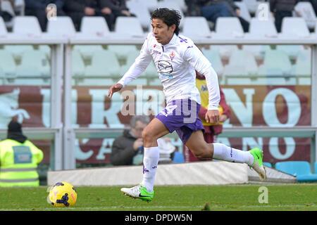Turin, Italien. 12. Januar 2014. Matias Fernandez in der Serie A Spiel zwischen Turin und Fiorentina im Stadio Olimpico - Stockfoto