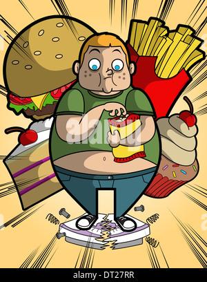 Abbildung von übergewichtigen jungen Essen auf defekte Waage stehend - Stockfoto