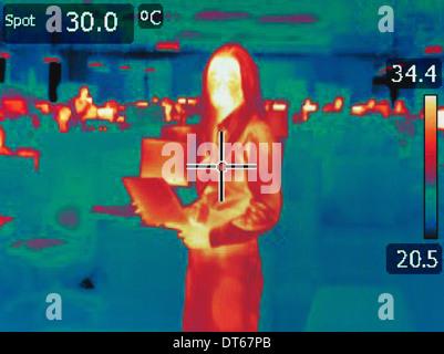 Infrarot-Wärme Bild von Büroangestellten - Stockfoto