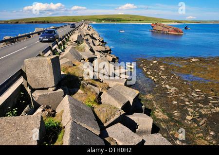 Churchill Barrier Nr. 3, errichtet während Zweiter Weltkrieg, den natürlichen Hafen von Scapa Flow, South Ronaldsay, - Stockfoto