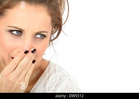 Angst, peinlich, junge Frau - Stockfoto