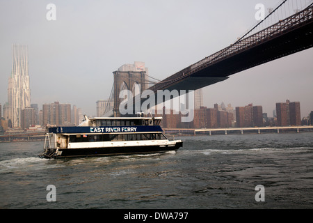 East River ferry unter der Brooklynbridge - Stockfoto