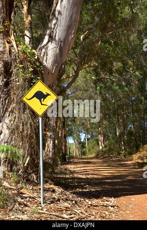 Ein Känguru Warnzeichen neben eine Schotterstraße, auf der Durchreise Waldgebietes in der Nähe der dänischen Stadt - Stockfoto