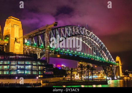 Sydney Harbour Bridge bei Nacht, Australien - Stockfoto