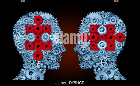 Wissen-Team-Konzept als eine Gruppe von Menschen gemacht angeschlossenen Getriebe und Zahnräder mit Puzzleteile - Stockfoto
