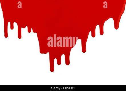 Rote Latex-Farbe ausgeführt, tropfte Wand mit textfreiraum auf weißem Hintergrund. - Stockfoto