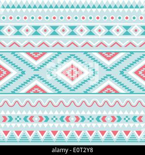 Stammes-Musterdesign, aztekische blau und rosa Hintergrund - Stockfoto