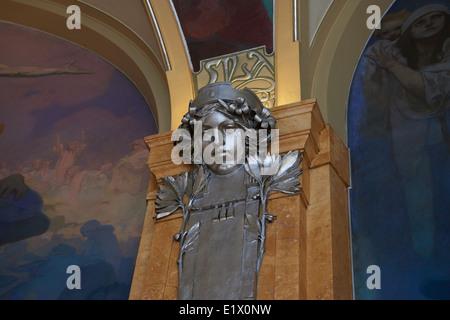 Decke Dekoration (Wandmalereien) in der Halle des Oberbürgermeisters im Gemeindehaus von Alfons Mucha (Jugendstil), - Stockfoto