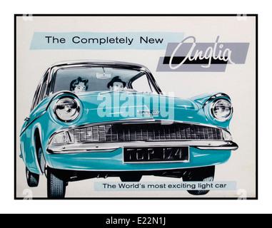 Oldtimer-Plakat für the1960 des Ford Anglia 105E eines legendären und beliebten Autos in Großbritannien - Stockfoto