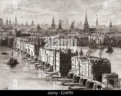 Old London Bridge, mit dem vierstöckigen Nonsuch Haus, 1579, London, England im 16. Jahrhundert abgeschlossen. - Stockfoto