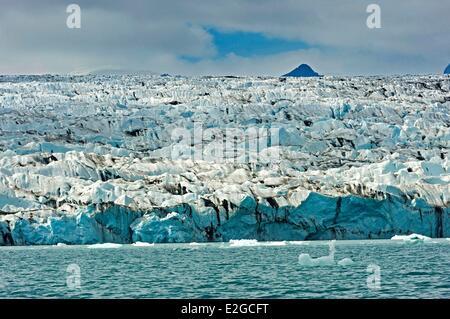 Island Austurland Region Vatnajökull Nationalpark Vatnajökull-Gletscher und der Gletscherlagune Jökulsárlón - Stockfoto