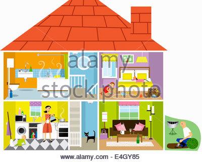 Querschnitt eines Einfamilienhauses mit potenziellen Gefahren - Stockfoto