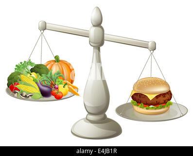 Gesunde Ernährung Willenskraft Konzept, gesunde Lebensmittel auf der einen Seite der Waage und Fast-Food-Burger - Stockfoto