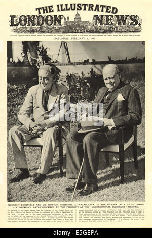 1943 illustrated London News Front page Berichterstattung Winston Churchill & President Roosevelt in Casablanca - Stockfoto