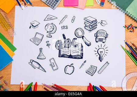 Zusammengesetztes Bild der Bildung doodles - Stockfoto