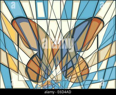 Bearbeitbares Vektor-Illustration ein buntes Mosaik Schmetterling - Stockfoto