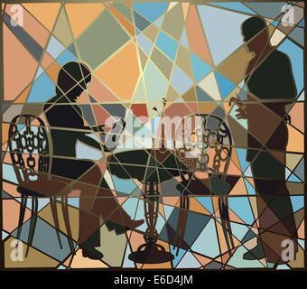 Editierbare Vektorgrafik buntes Mosaik einer Frau ein Kellner in einem Café oder Restaurant Essen und trinken bestellen - Stockfoto