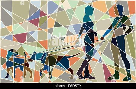 Editierbare Vektorgrafik buntes Mosaik von Mann und Frau und ihre Hunde Interaktion - Stockfoto