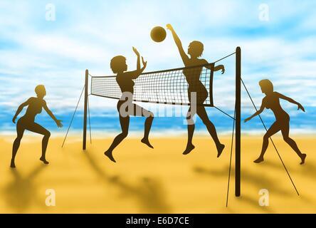 Editierbare Vector Silhouetten von Frauen spielen Beach-Volleyball mit Hintergrund unter Verwendung einer Verlaufsgitter - Stockfoto