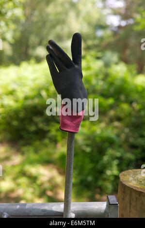 Verlorene schwarzen Handschuh auf Tor in das Land, Devon UK - Stockfoto