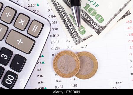 Finanzkonzept, Chart-Grafiken, Münzen und Rechner auf Business-Tabelle, Ansicht von oben. - Stockfoto
