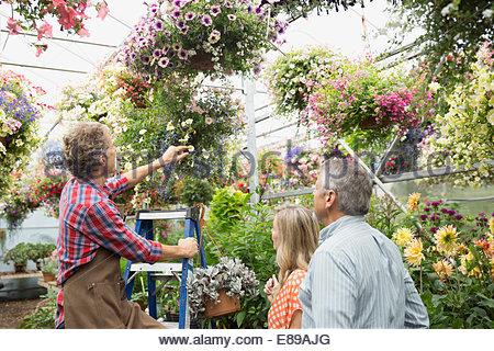 Arbeiter helfen Paar mit hängenden Korb im Gewächshaus - Stockfoto