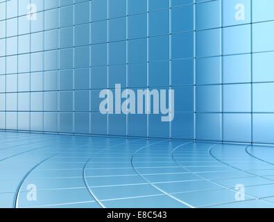 Detail der blauen Kacheln gebogenen Stock - Stockfoto