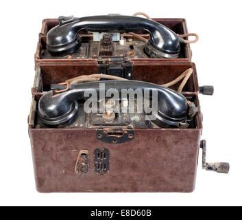 Feldtelefon, deutsche Wehrmacht, Zweiter Weltkrieg - Stockfoto