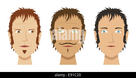 drei verschiedene Gesichter - Stockfoto