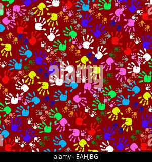 Bunte Kinder Handabdrücke, nahtlose Muster - Stockfoto