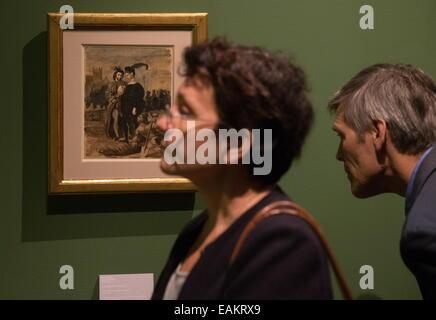 """Moskau, Russland. 17. November 2014. """"Hamlet und Horatio auf dem Friedhof"""" (1828) von Eugene Delacroix auf eine - Stockfoto"""