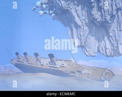 Berühmte Titanic Wrack im tiefen Ozean unter Eisberg - Stockfoto