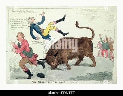 Der irischen Stier brach lose, Cruikshank, Isaac, 1756?-1811?, Gravur 1799, der irischen Stier William Pitt in die - Stockfoto