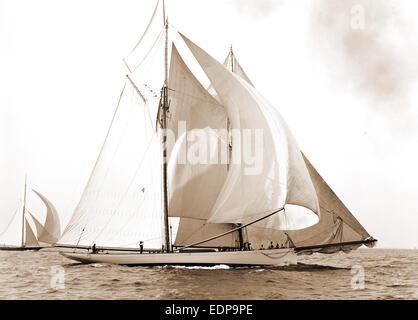 Goelet Weltcup-Rennen, Mayflower (Schoner), Goelet-Cup-Rennen, Yachten, Mayflower, Regatten, 1891 - Stockfoto