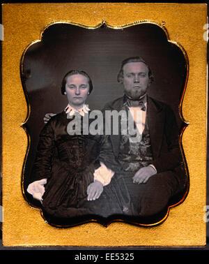 Paar in formelle Kleidung, Portrait, Daguerreotypie, ca. 1850 - Stockfoto