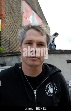 Shepard Fairey american Graffiti Künstler U.S. London n22 Haringey Wandbild - Stockfoto