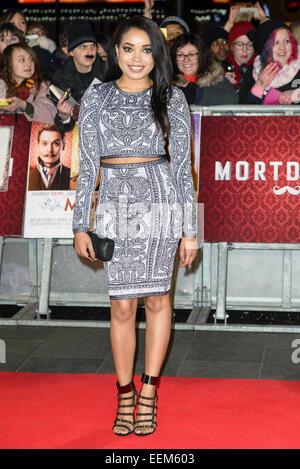 London, UK. 19. Januar 2015. Dionne Bromfield besucht die UK Premiere von MORTDECAI The Empire Leicester Square, - Stockfoto