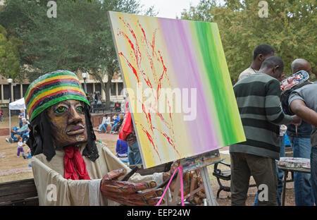 Downtown Kunstfestival in Gainesville, Florida.  Hier hilft haitianischen Künstler andere zu ihrer innere Kreativität - Stockfoto