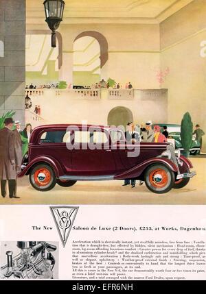 1934-Werbung für den neuen Ford zwei Türen, V8 Limousine de Luxe. - Stockfoto