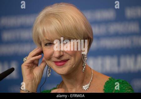 """Berlin, Deutschland. 9. Februar 2015. Schauspielerin Helen Mirren besucht die Pressekonferenz für """"Frau in Gold"""" - Stockfoto"""
