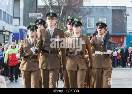 Crewe, Cheshire, UK. 17. Februar 2015. Soldaten aus der Mercian Regiment sind am 17. Februar 2015 geehrt mit der - Stockfoto