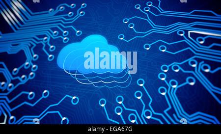 Cloud-computing-Konzept: Platine mit Cloud. - Stockfoto