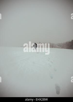 Deutschland, Schwarzwald, Mann im Schnee, bei stürmischem Wetter - Stockfoto