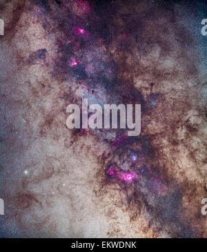 Ein Mosaik der Milchstraße rund um die kleine Schütze Star Wolke (M24). Der Auffassung in der Milchstraße aus der - Stockfoto
