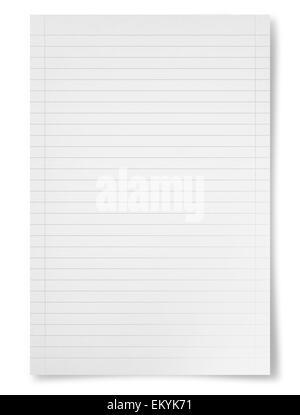 Weißes Blatt Papier isoliert auf weißem Hintergrund - Stockfoto