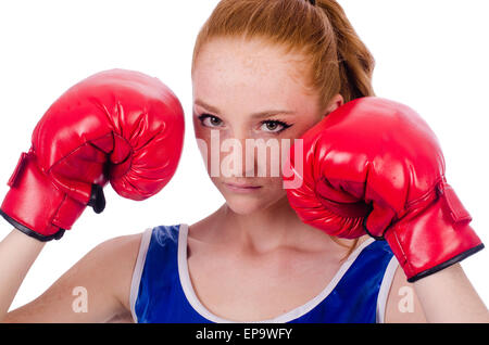 Boxer der Frau in Uniform mit US-Symbole - Stockfoto