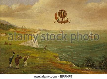 Jean-Pierre Blanchard und John Jeffries überqueren den Ärmelkanal im Jahre 1785. Malerei von unbekannten Künstler. - Stockfoto