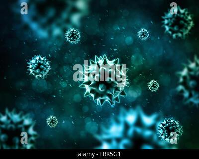 Blau-Bakterien 3D-Rendering Hintergrund. - Stockfoto